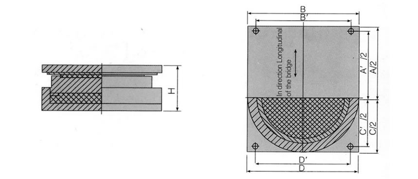 A picture is showing the cross section of the free sliding pot bearing.